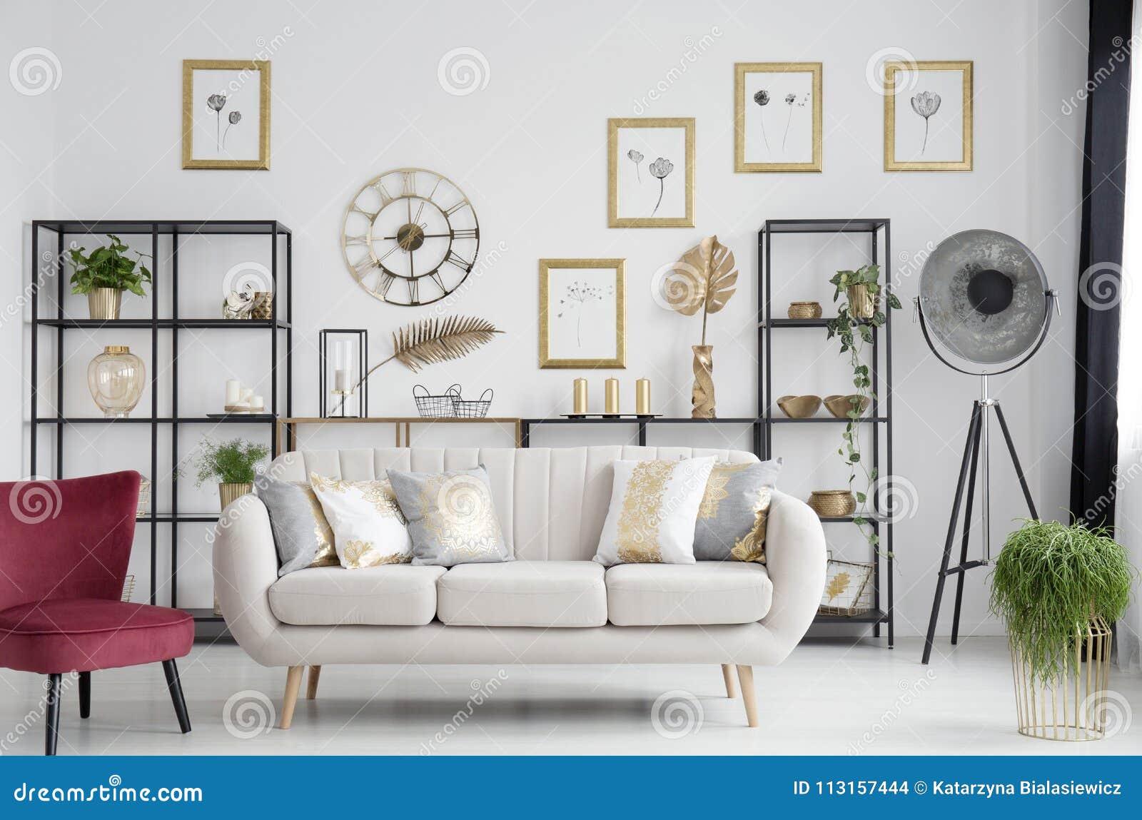 Elegant Gold Living Room Interior Stock Photo - Image of elegant ...