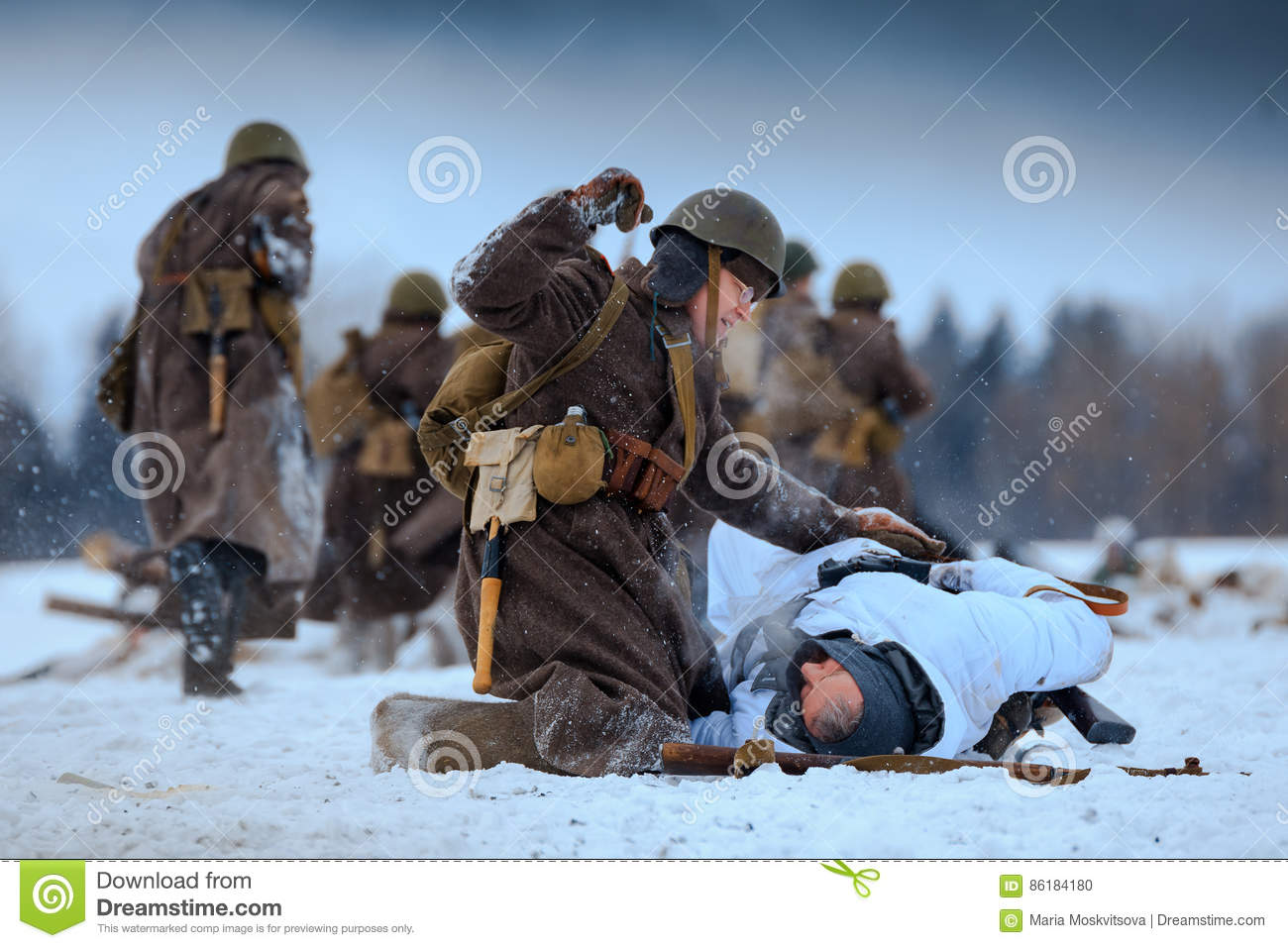 Red Army And Wehrmacht Soldiers` Fighting  Editorial Image - Image
