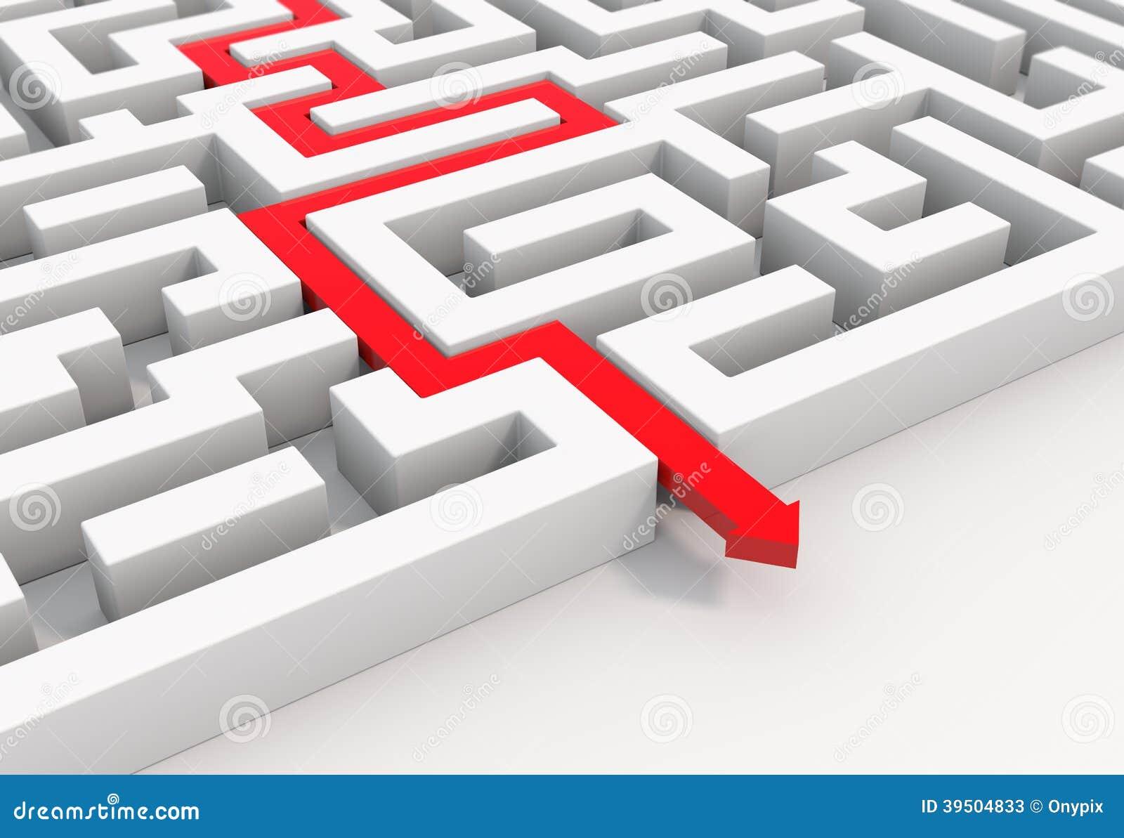 Red arrow leads through a maze