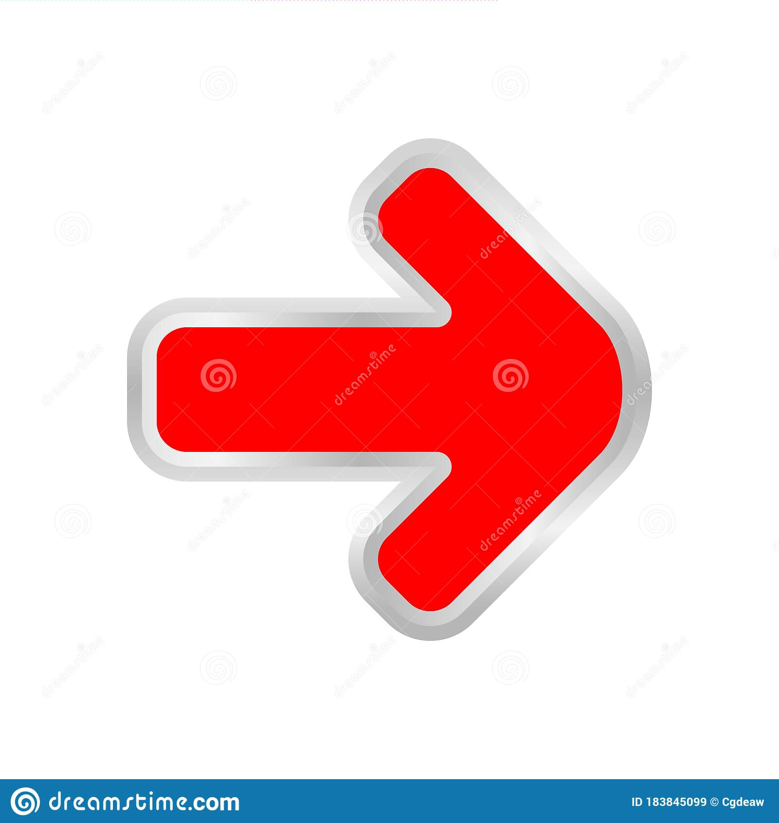 Red Arrow Pointing Right Isolated On White Clip Art Red Arrow Icon Pointing To Right 3d Arrow Symbol Indicates Red Direction Stock Vector Illustration Of Colorful Information 183845099
