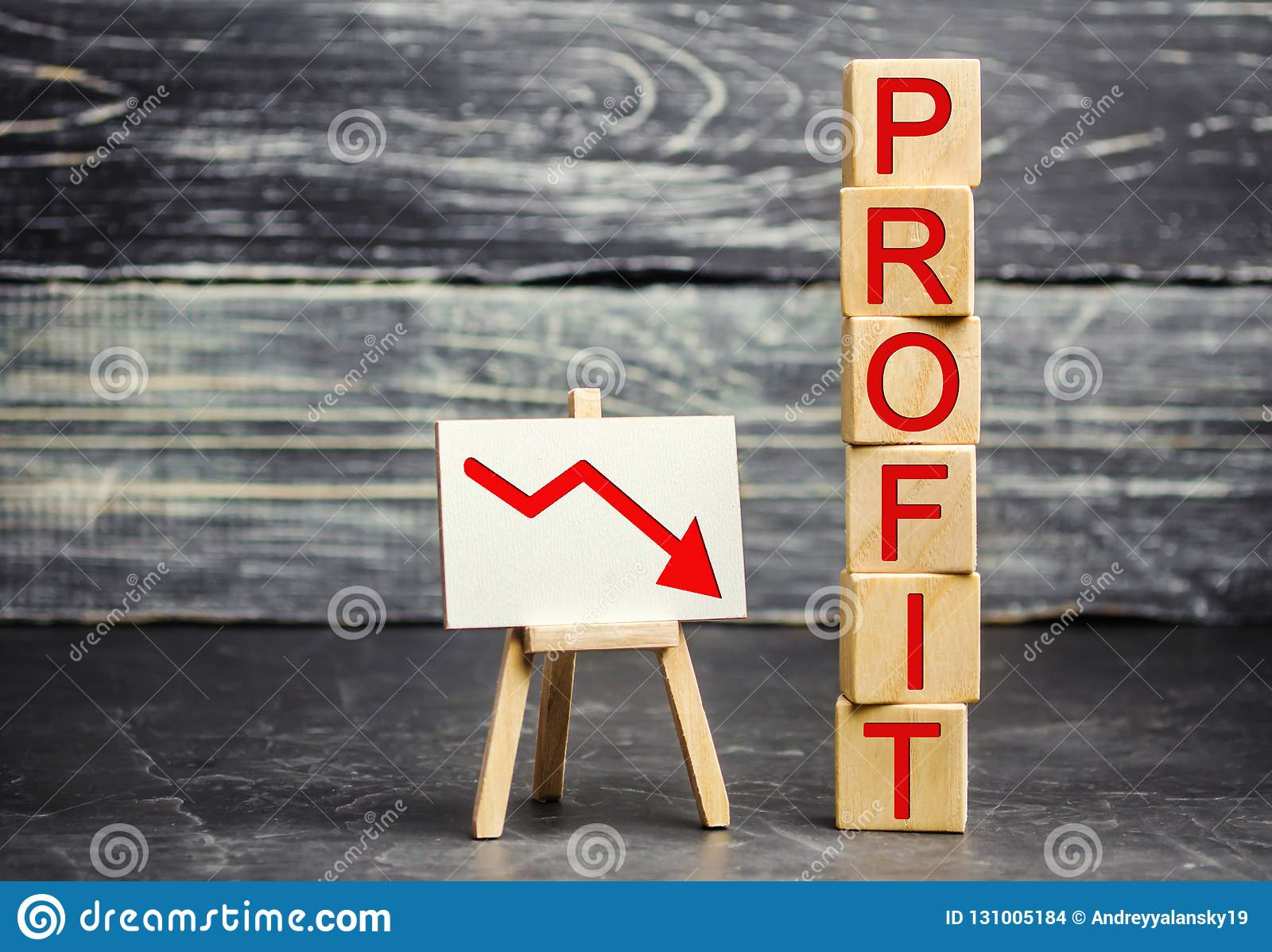 A red arrow to down and the inscription `profit`. Unsuccessful business and poverty. Profit decline. Loss of investment. Low wages