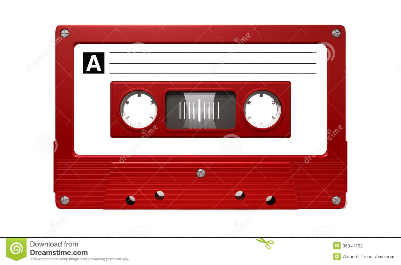 close up view of a red vintage audio cassette tape with a white ...