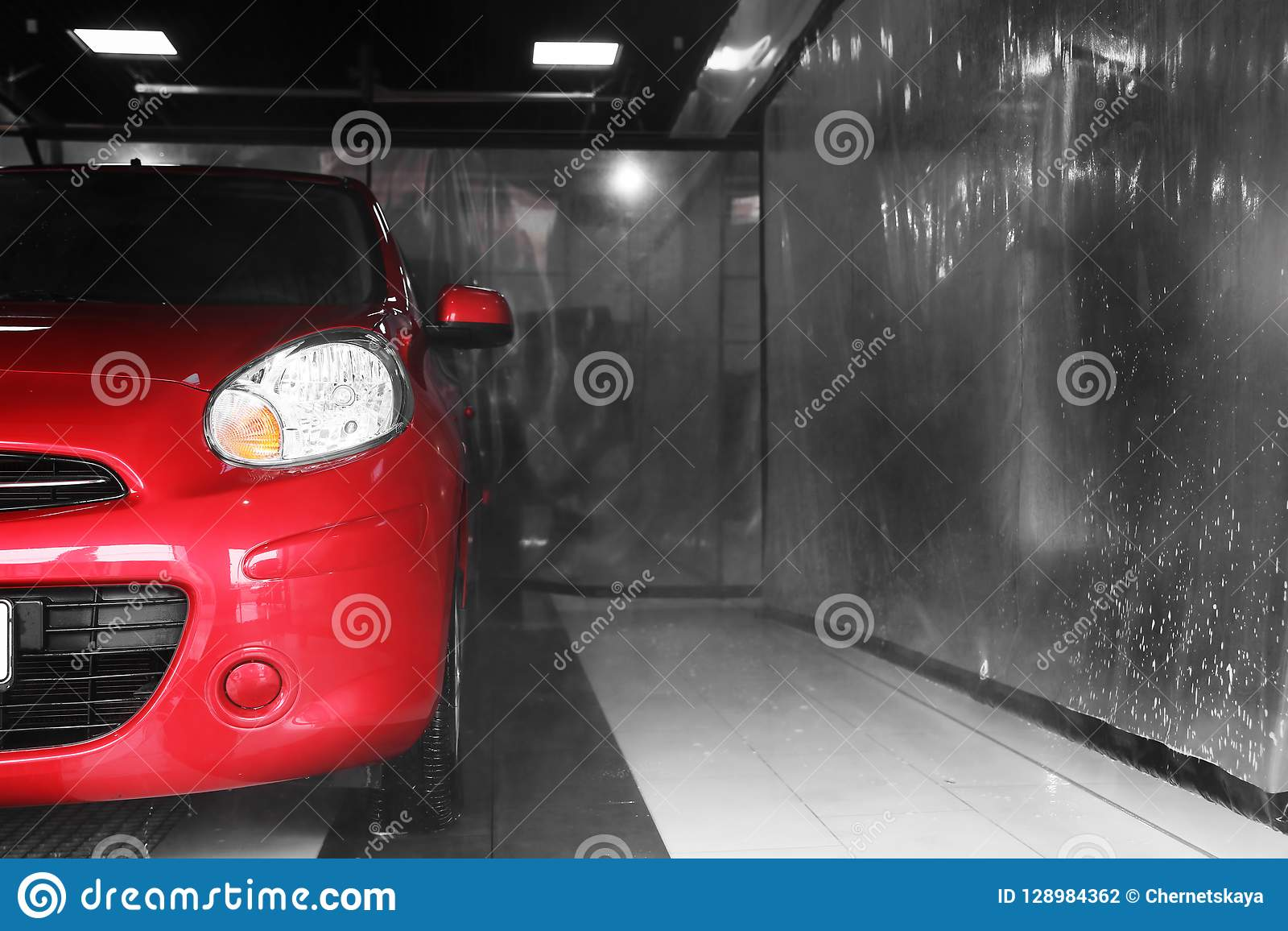 Red auto car wash