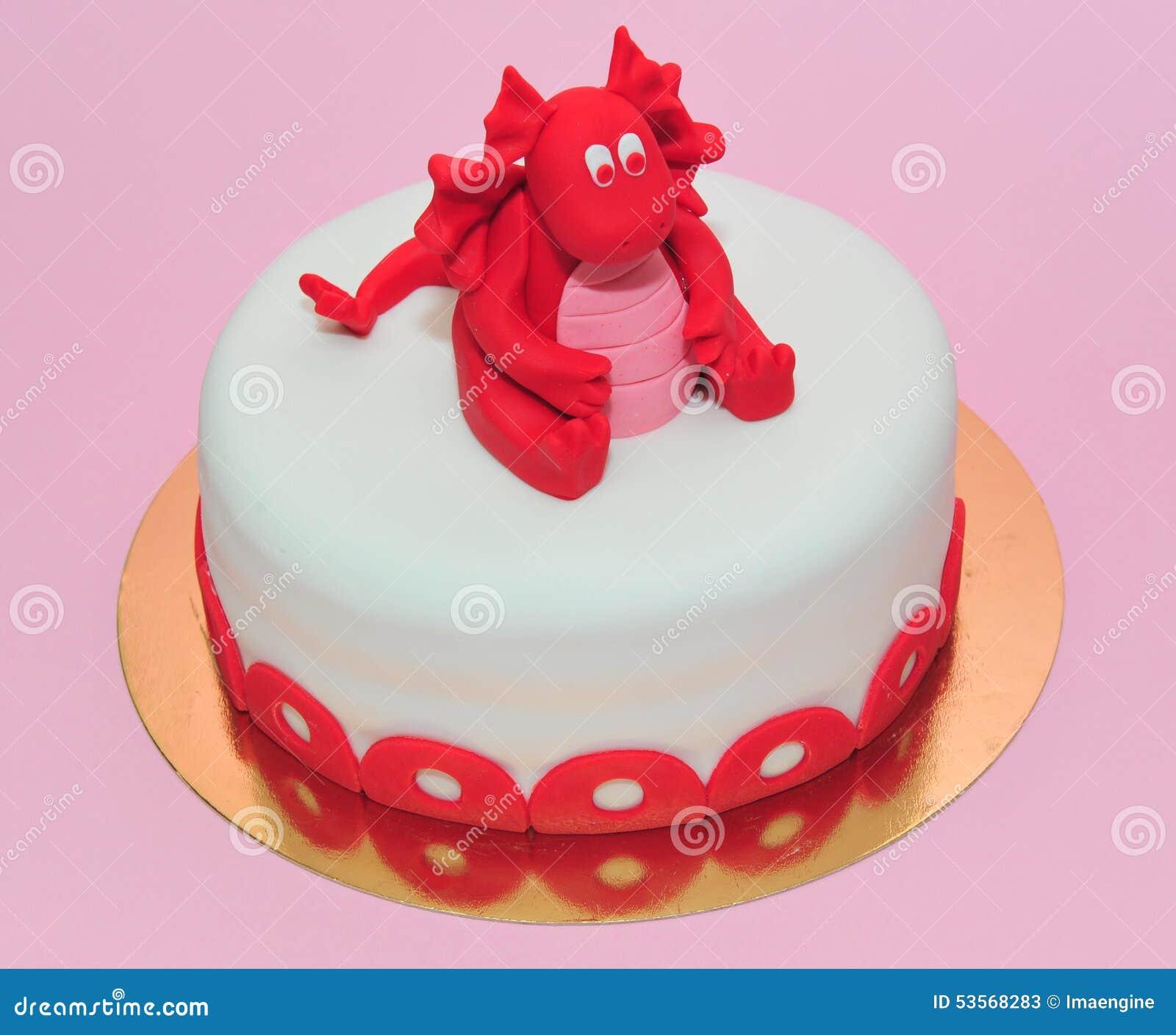 Surprising Red Baby Dragon Birthday Cake Stock Image Image Of Fondant Personalised Birthday Cards Veneteletsinfo