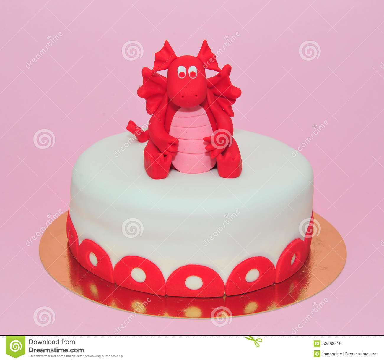 Red Baby Dragon Girl Birthday Cake Stock Image Image Of Home
