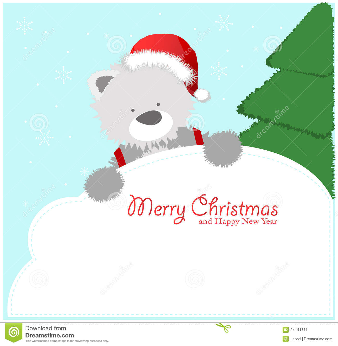 Red Baby Winter Background With Funny Young Teddy Stock Illustration