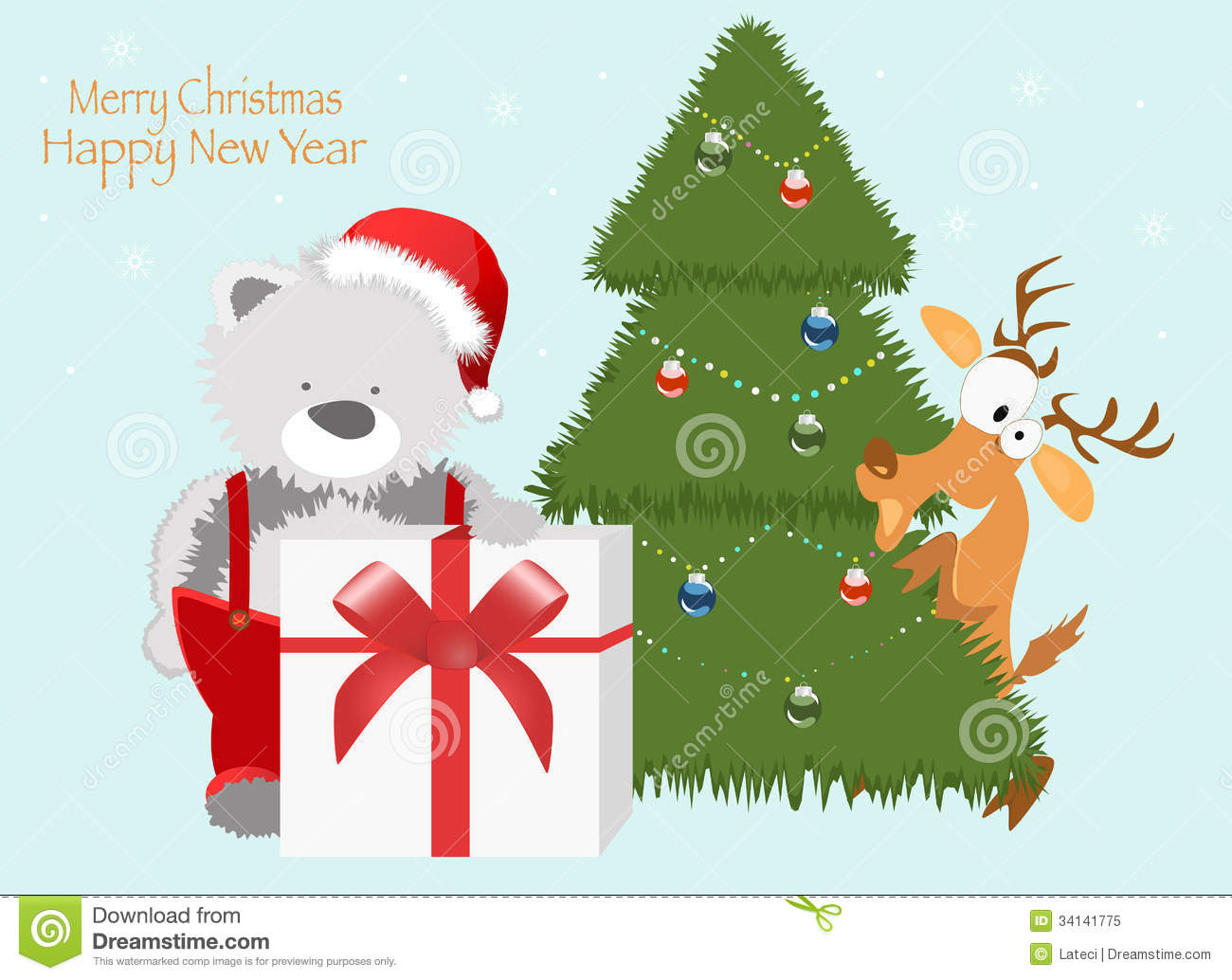 50 Beautiful Merry Christmas And Happy New Year Pictures: Red Baby Winter Background With Funny Young Teddy Royalty