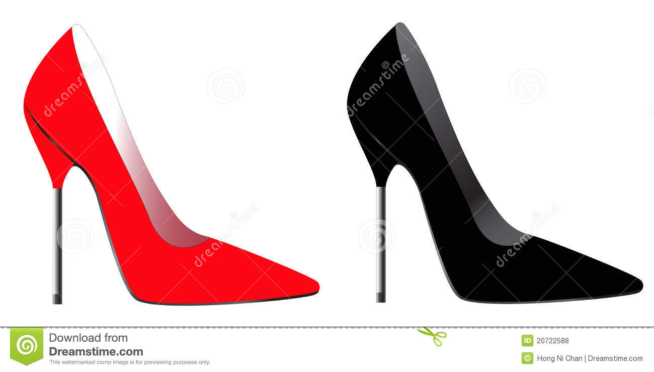 Red & Back High Heel Royalty Free Stock Photos - Image: 20722588
