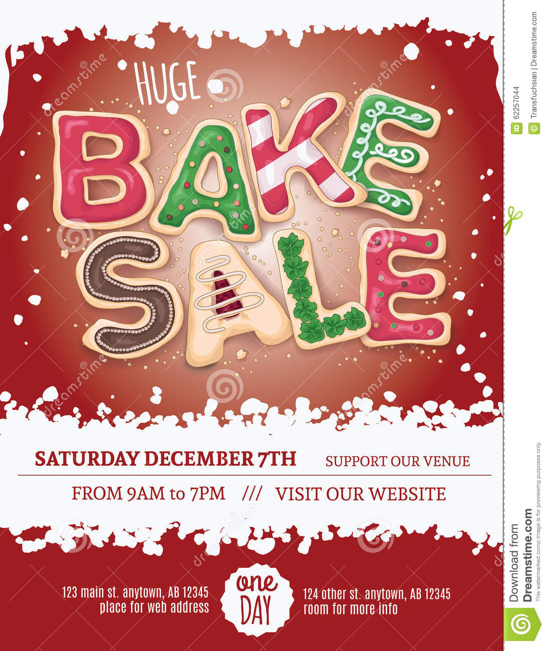 Red background Christmas bake sale flyer