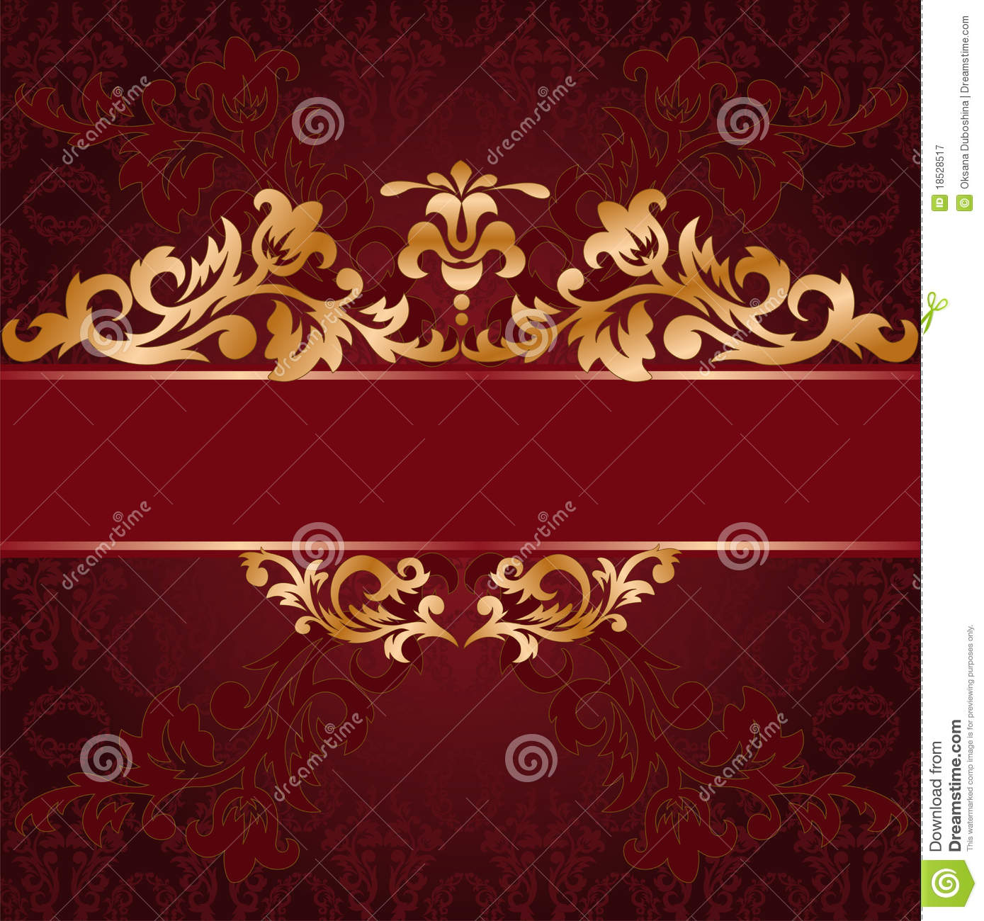 Red background with gold ornaments royalty free stock for Red with gold