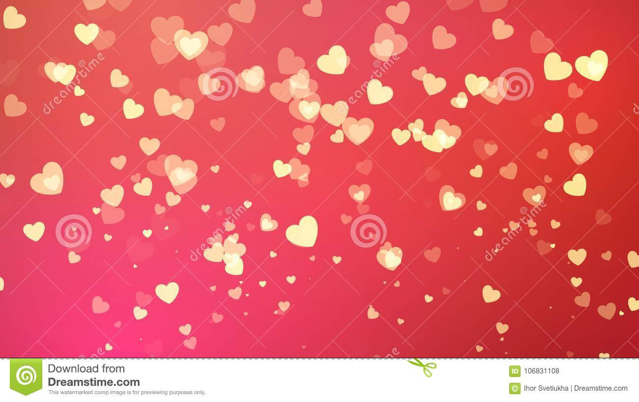 Red Background With Golden Heart Confetti. Valentines Day Greeting ...