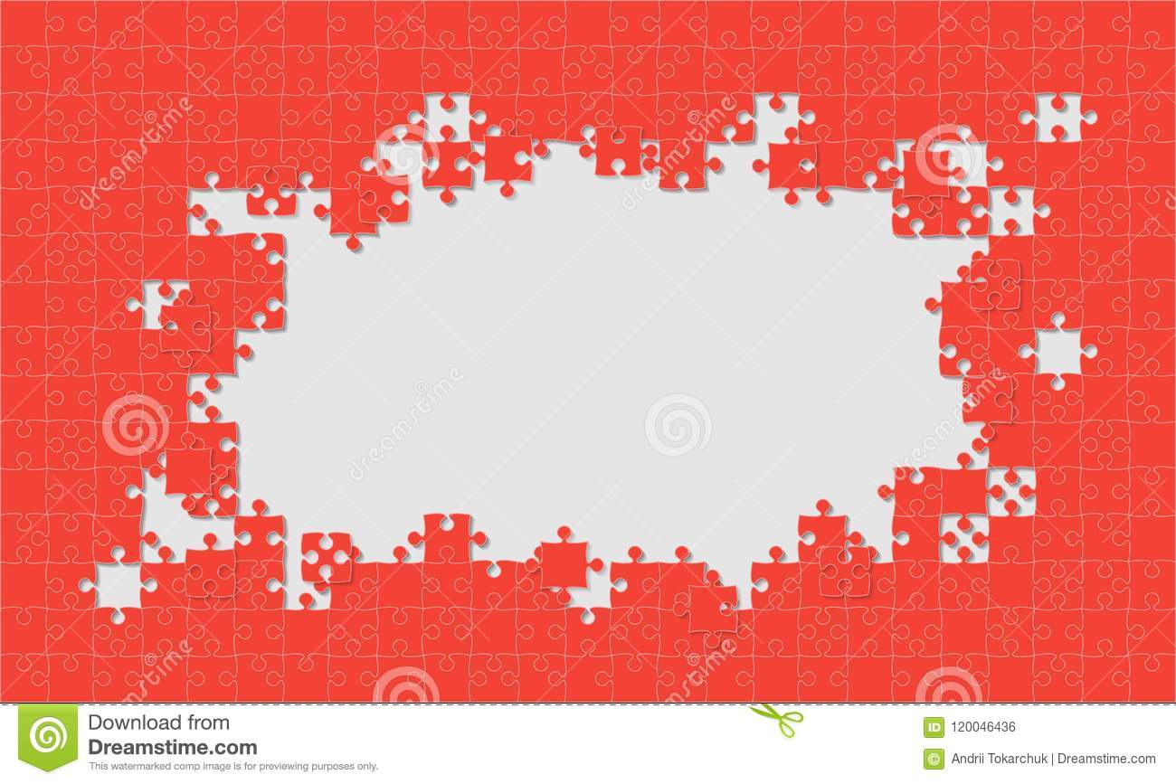 Red Background Puzzle. Jigsaw Puzzle Frame. Stock Vector ...