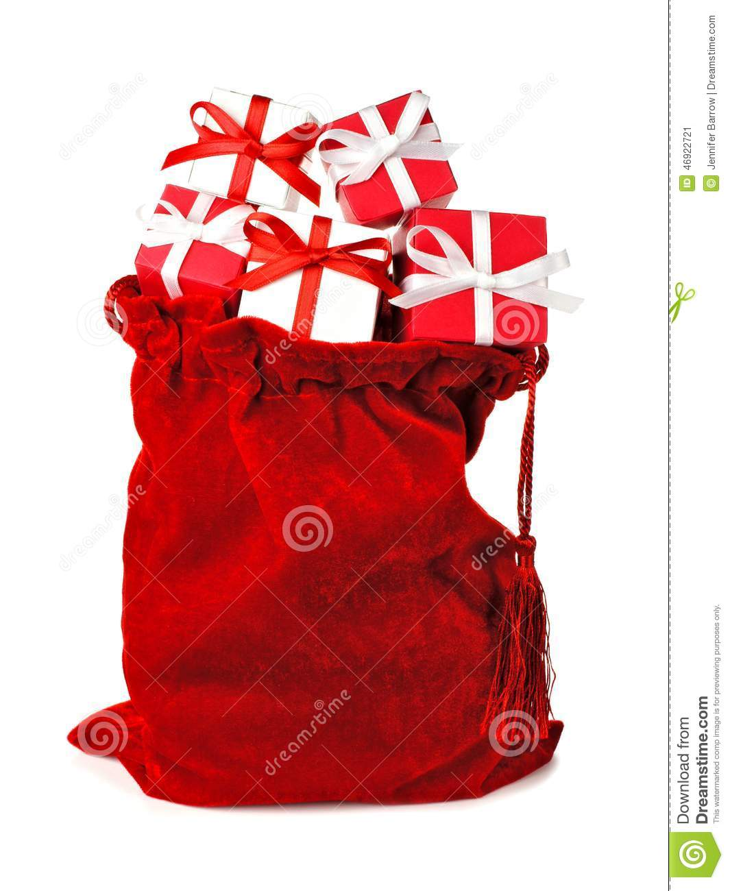 Red bag full of christmas gifts stock photo image