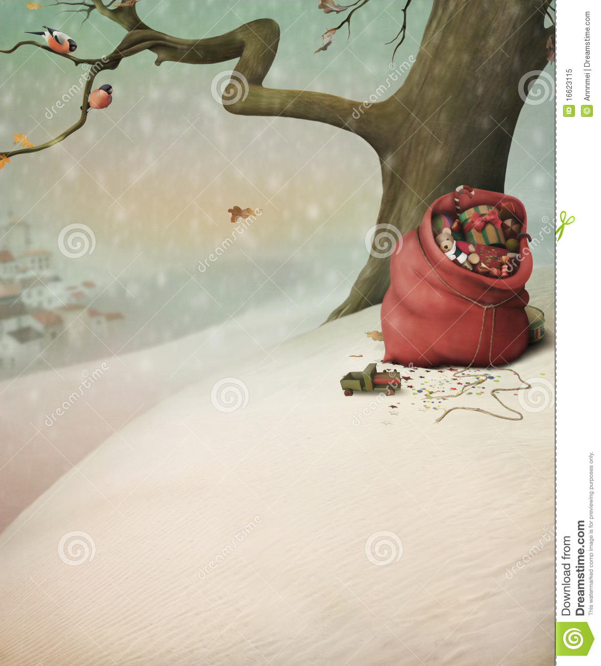 Red bag with gifts for Christmas in the winter for