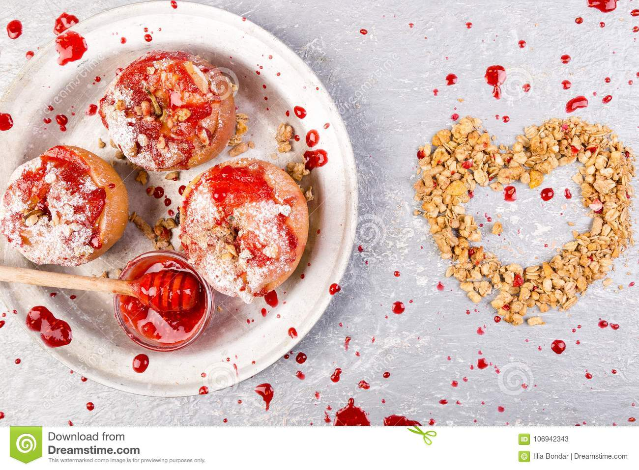 red baked apples stuffed cottage cheese and granola with jam rh dreamstime com keto diet foods cottage cheese Cottage Cheese and Weight Loss