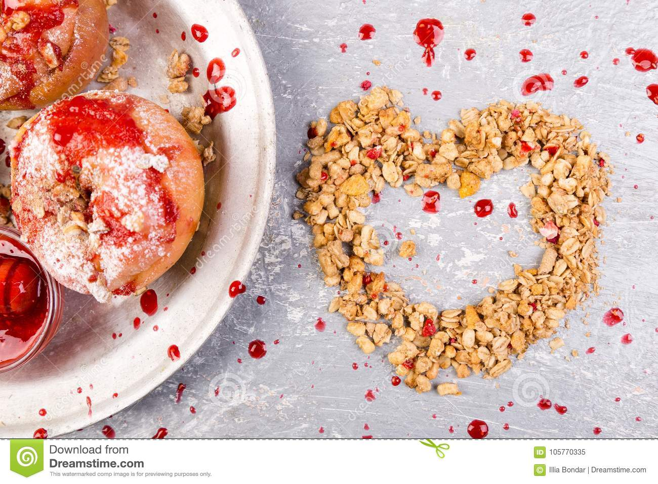 red baked apples stuffed cottage cheese and granola with jam rh dreamstime com Cottage Cheese and Weight Loss cottage cheese good diet food