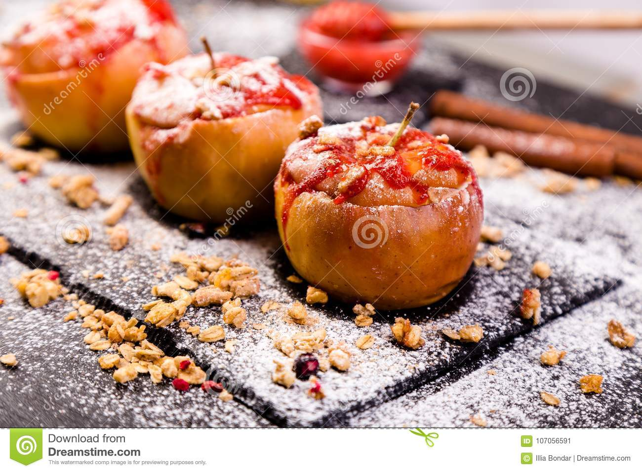 Red Baked Apples Stuffed Cottage Cheese And Granola