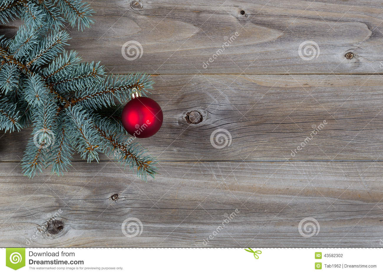 Red ball christmas ornament on pine tree branch with