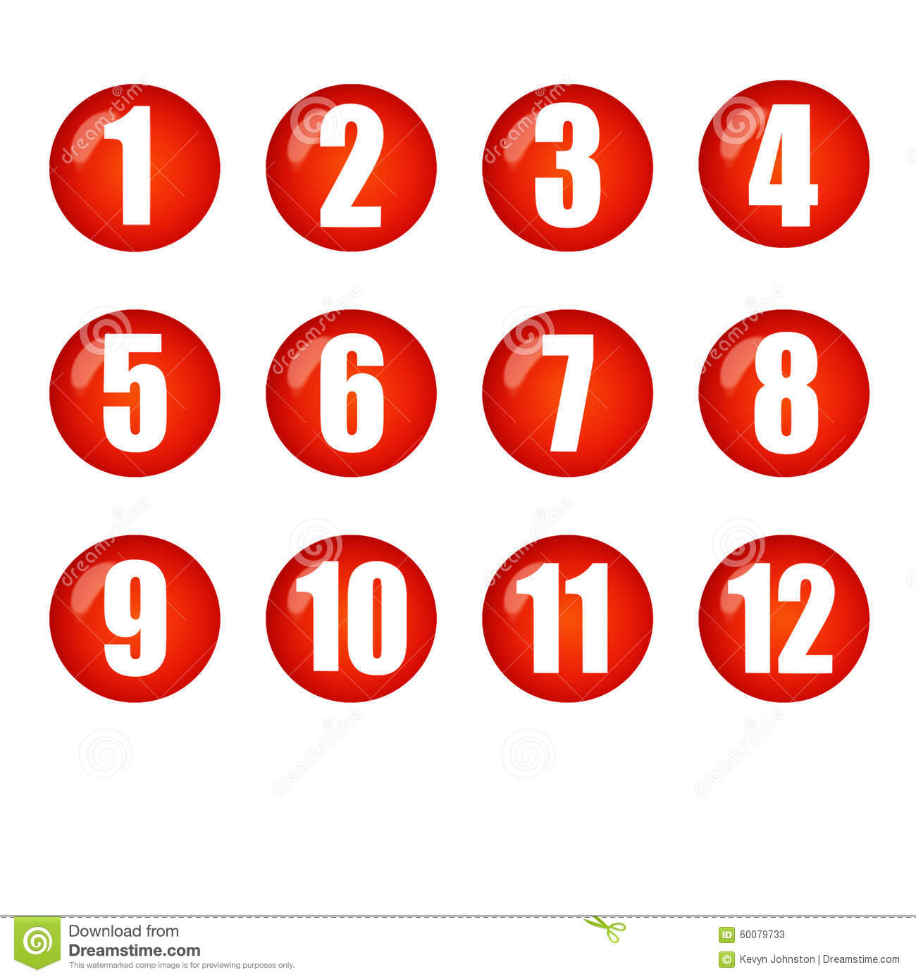 Red Ball Numbers Buttons Stock Illustration Image 60079733