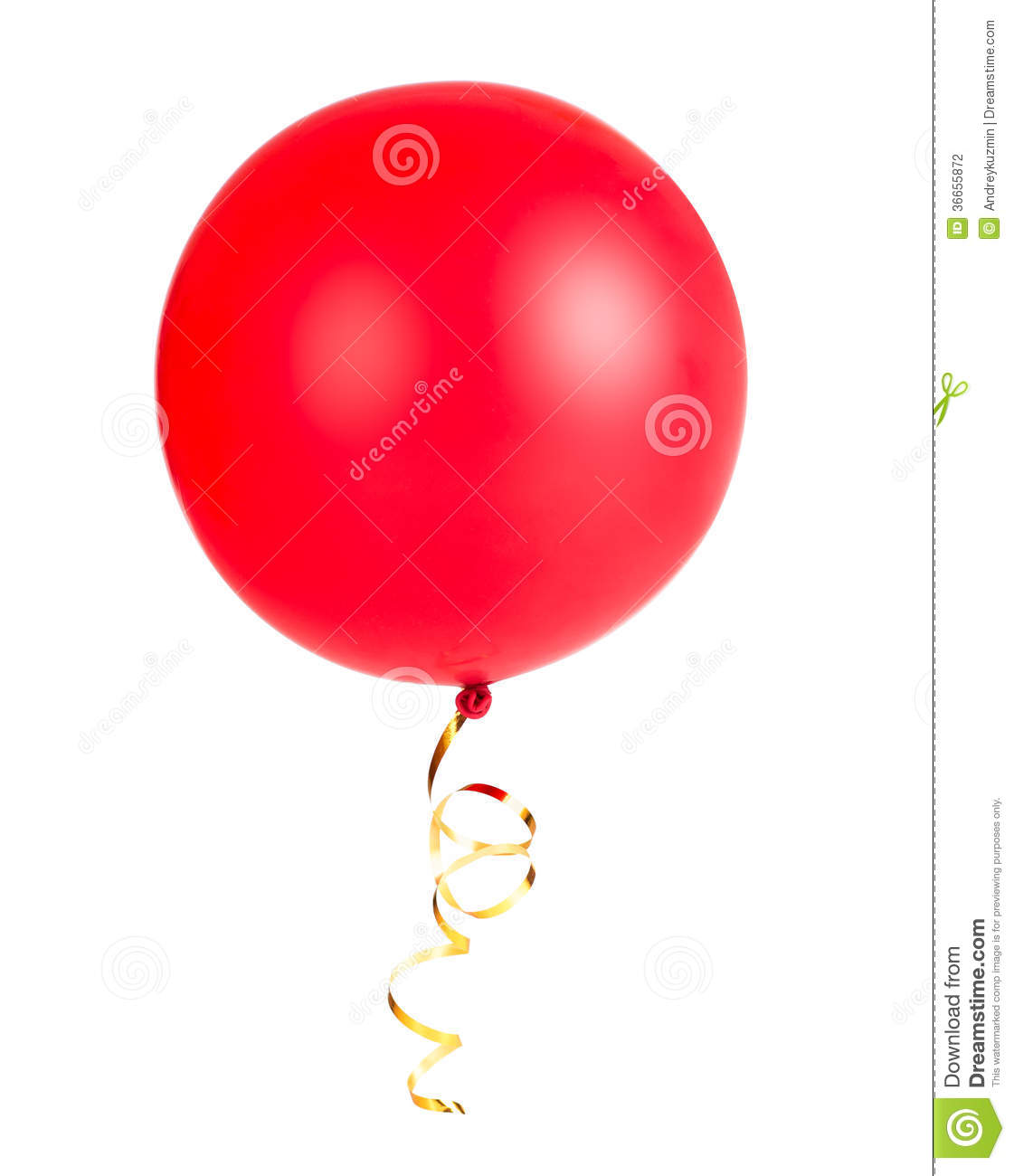 Red balloon photo with gold string or ribbon isolated