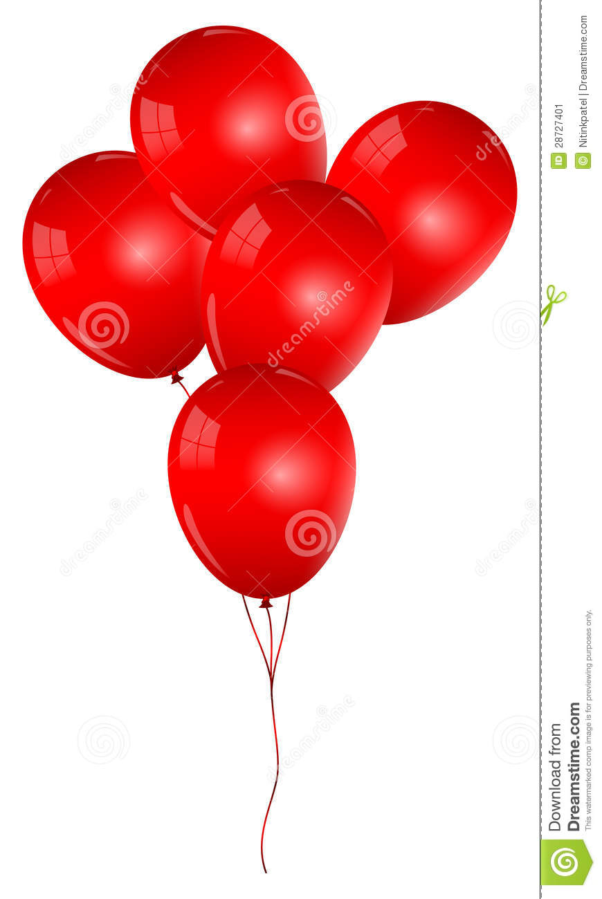 Red Balloons Bunch Stock Image - Image: 28727401