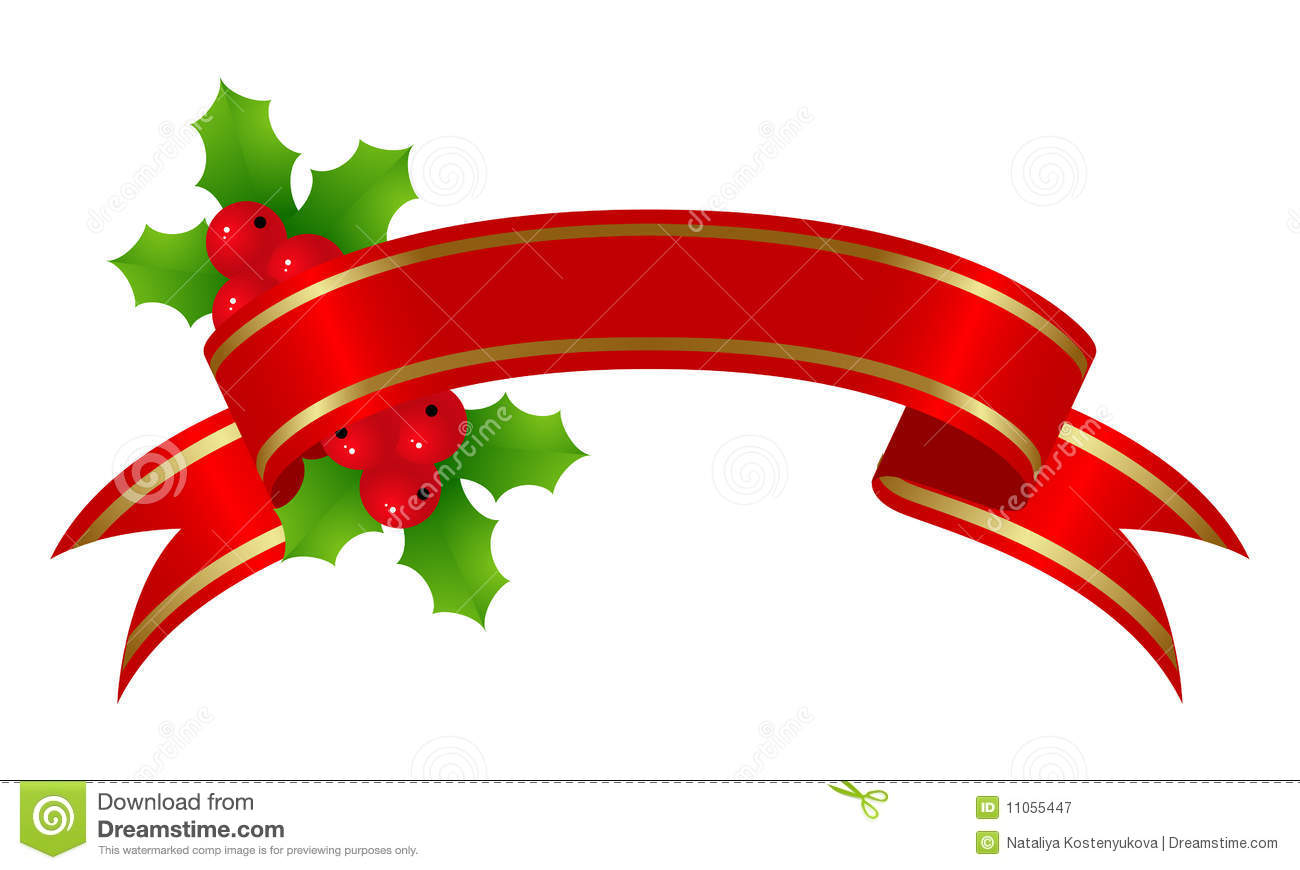 Red banner with holly for christmas decoration. Vector illustration.