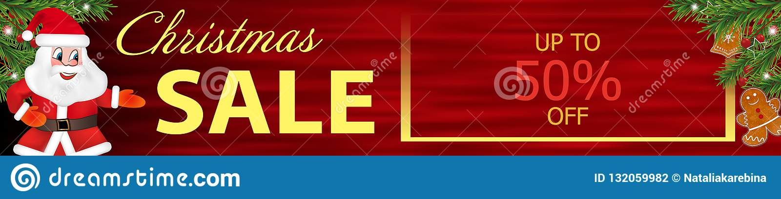 Red Banner Christmas Sale With Funny Santa Claus And Gingerbread