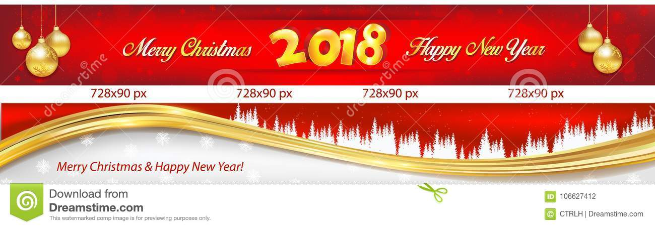 red banners set leaderboard for christmas and new year 2018