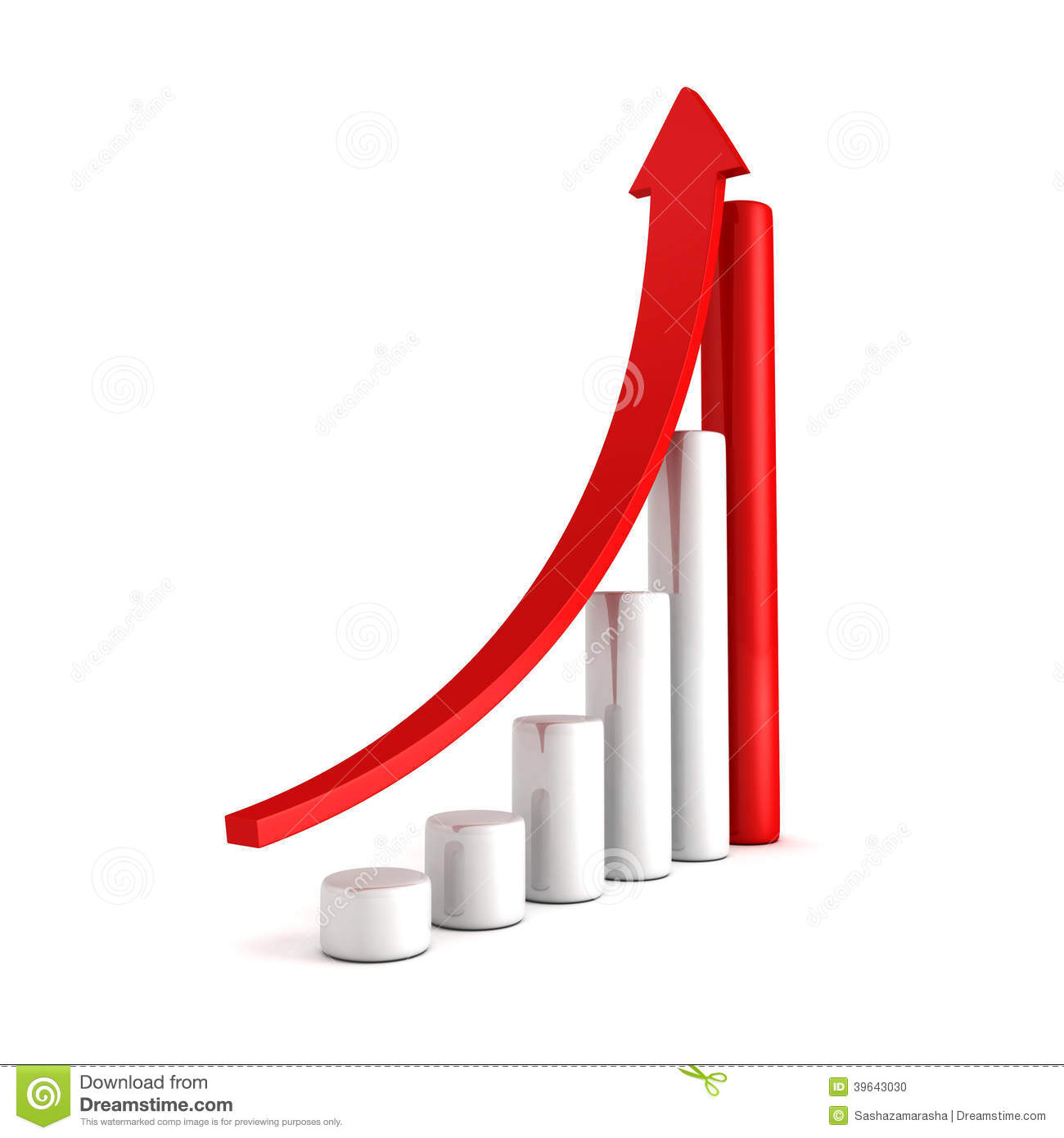 Red bar chart business growth with rising up arrow stock illustration