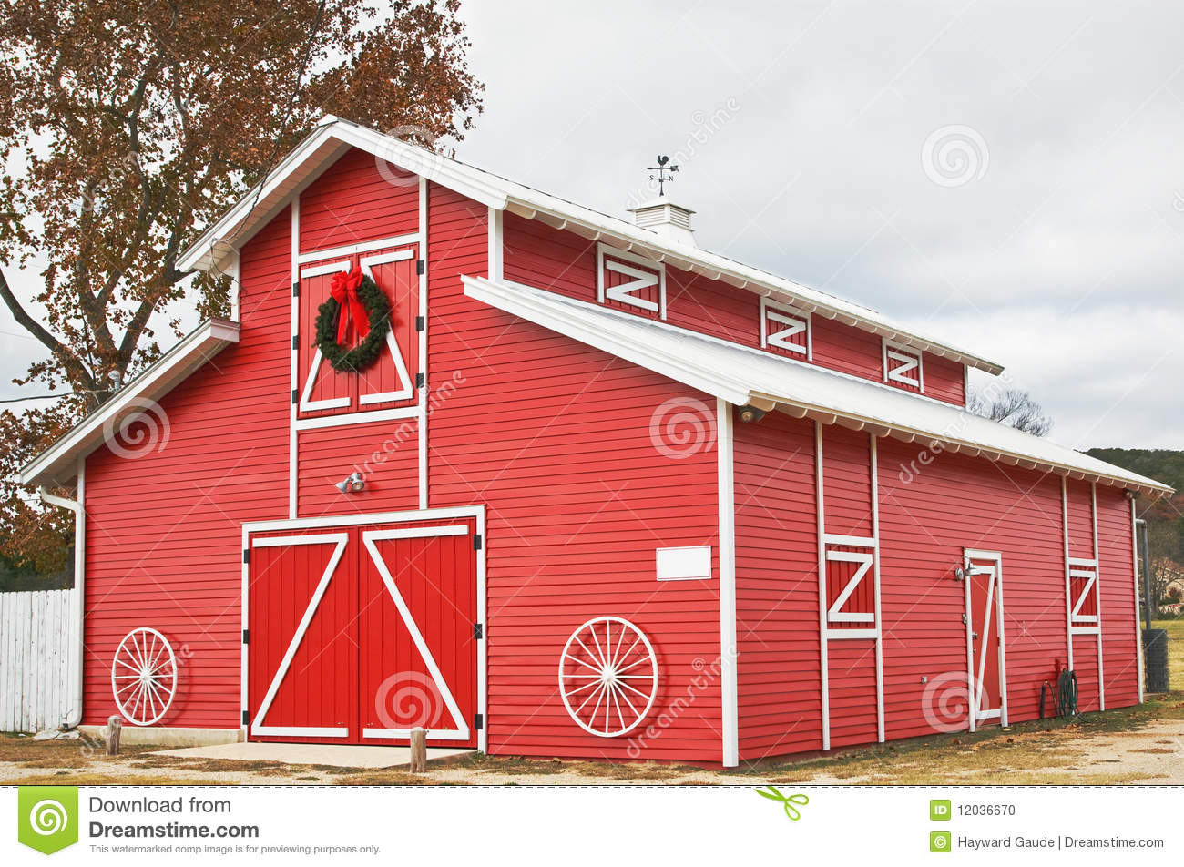 Red barn stock photo image of holiday colorful ribbon for Red barn prefab