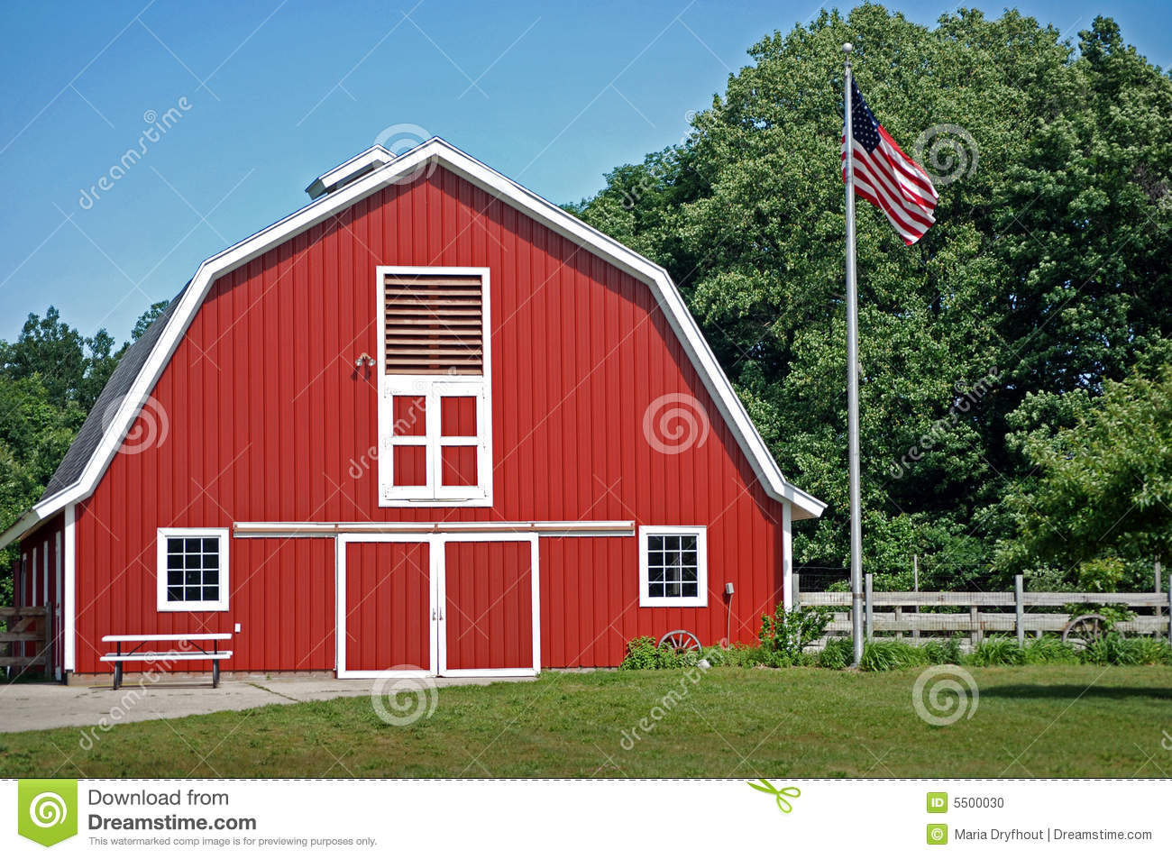 Red barn with american flag stock photo image 5500030 for Country barn plans