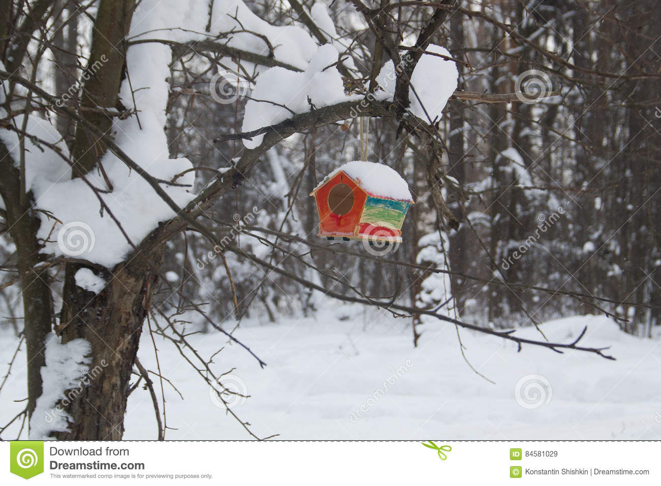 Red barn birdhouse snow covered in winter forest