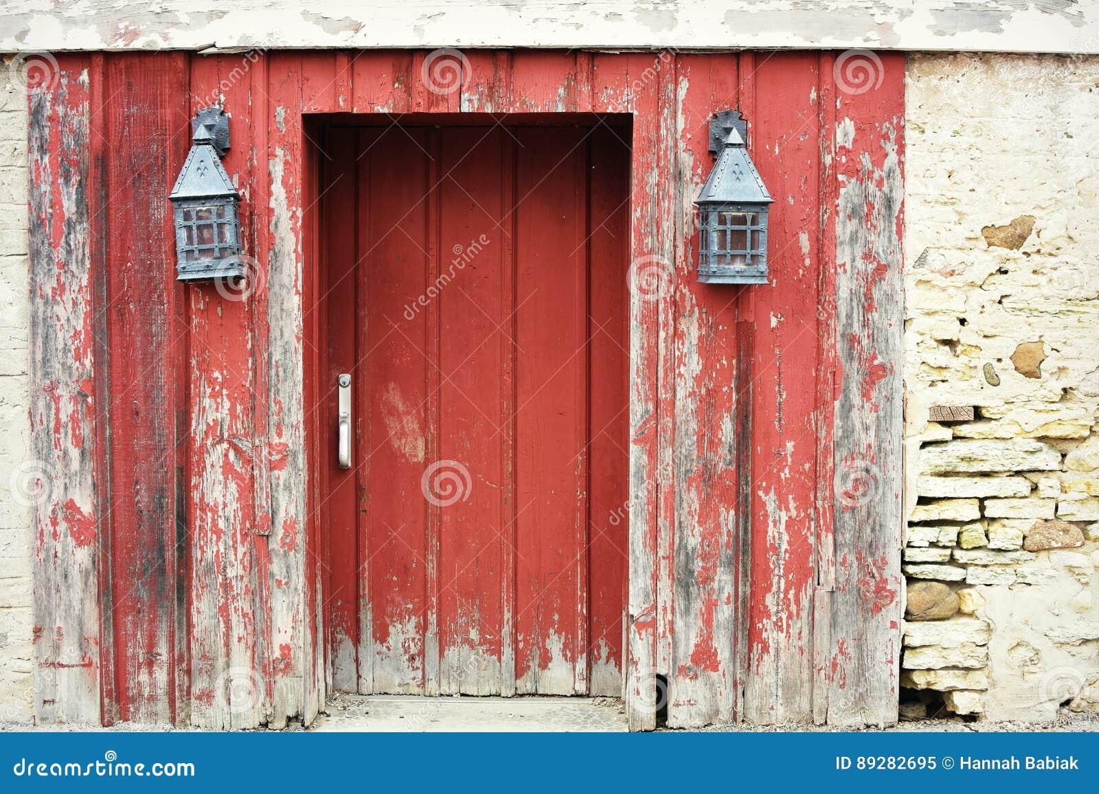 Red Barn Door With Lanterns Stock Image Image Of Door Black 89282695