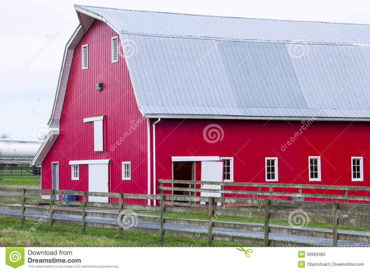 Red Barn On The Farm Stock Photo Image 52683483