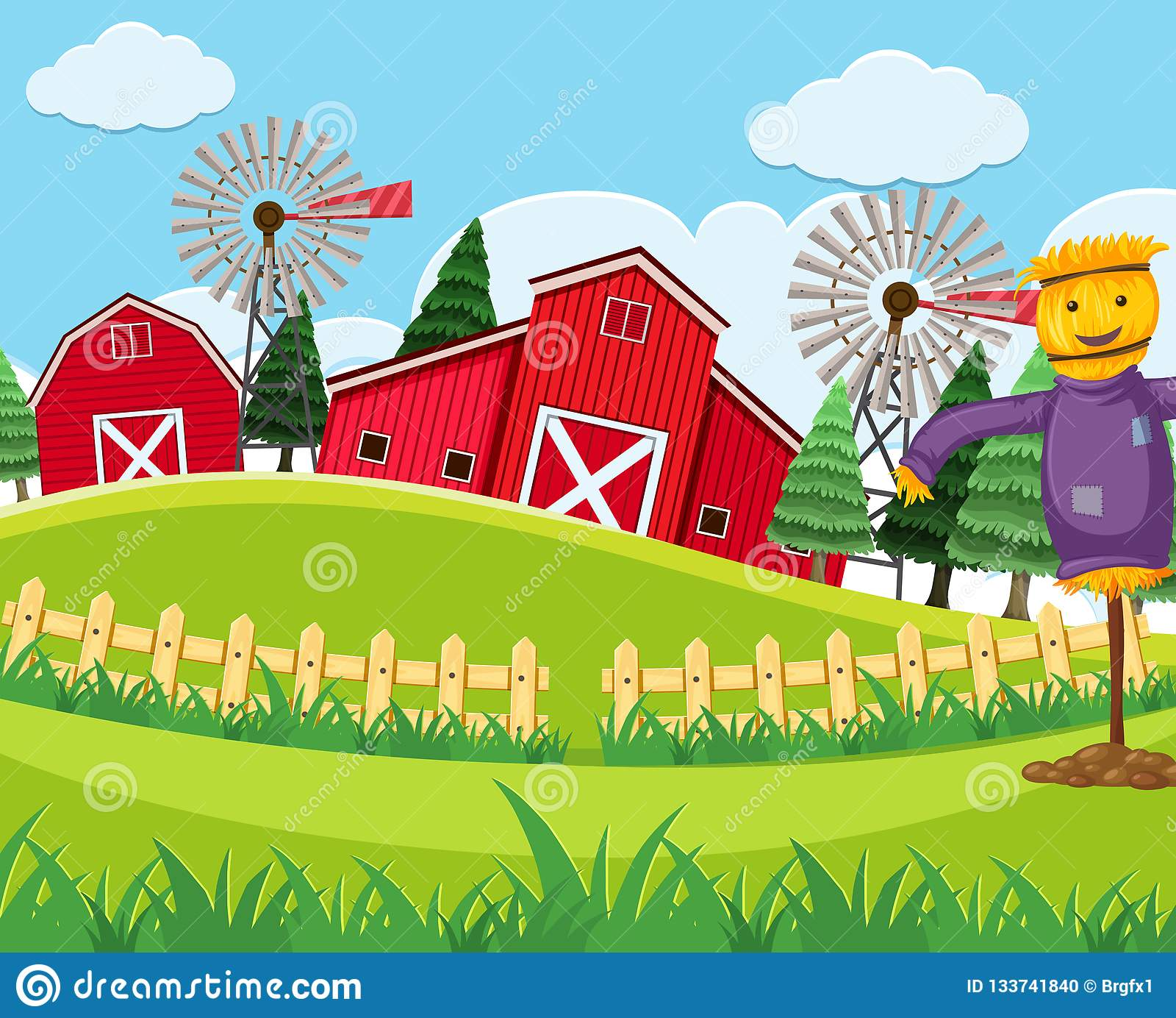 Red barn farm scene stock illustration. Illustration of ...