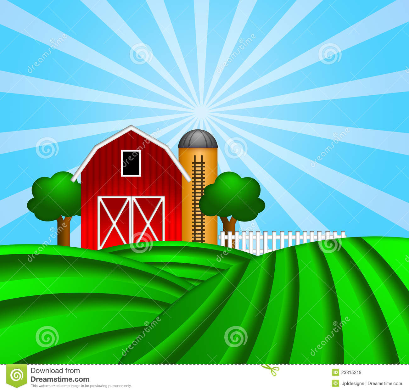 Red Barn With Grain Silo On Green Pasture