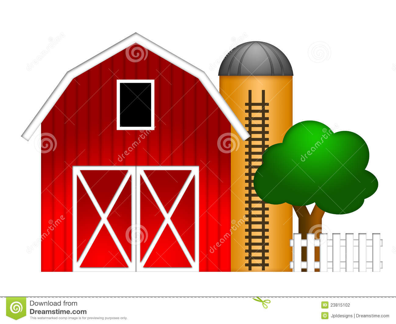 Cow on green pasture with red barn with grain silo royalty free stock - Red Barn With Grain Silo Illustration Stock Photography