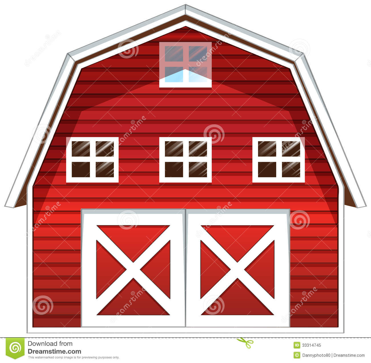A Red Barn House Stock Illustration. Illustration Of Farm