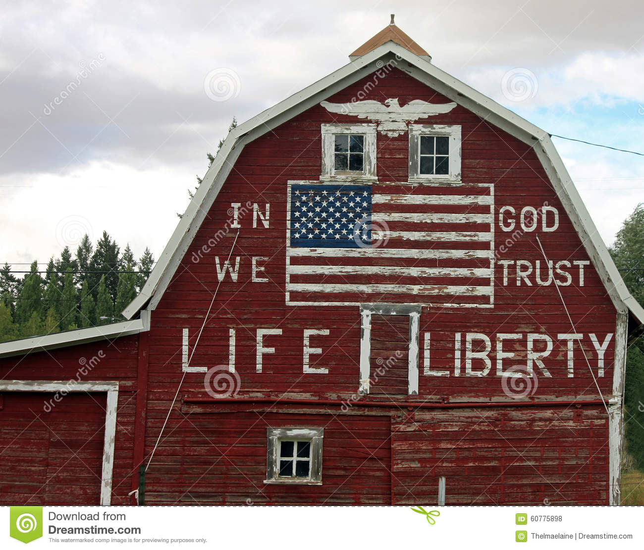Red Barn With Painted American Flag