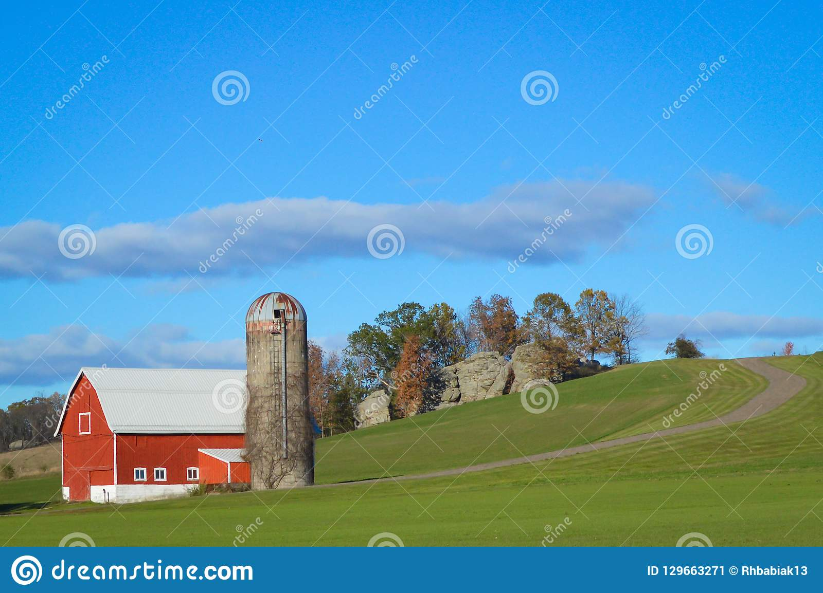 Red Barn with Silo in Wisconsin Countryside