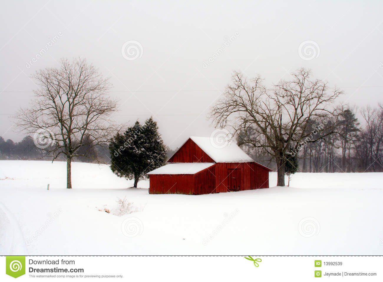Red Barn In Snow Royalty Free Stock Images Image 13992539