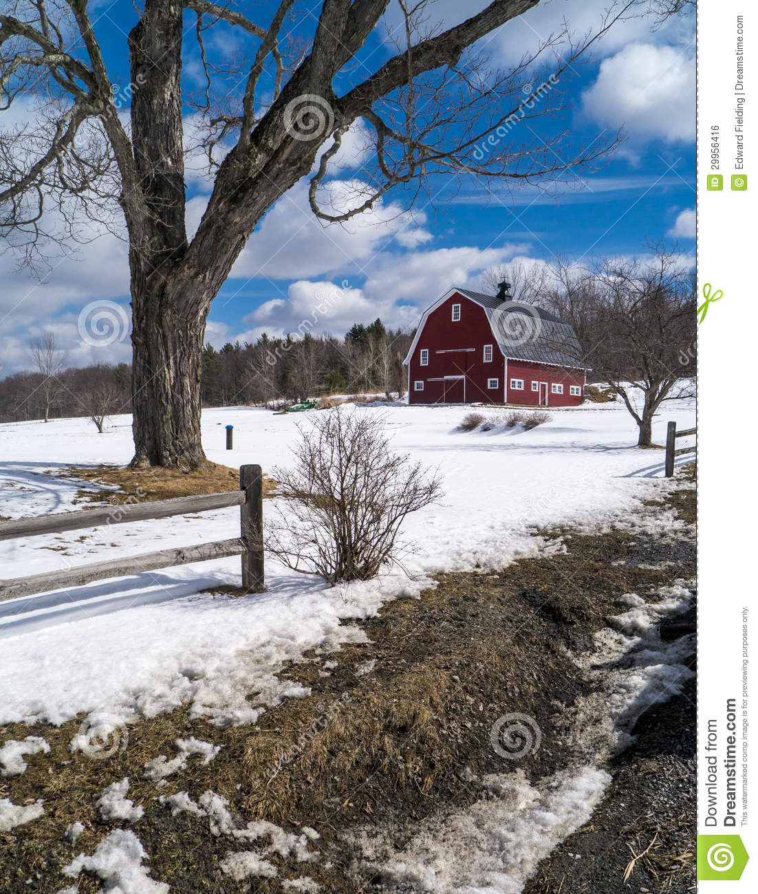 New England Farm In Winter With Red Barn Royalty Free