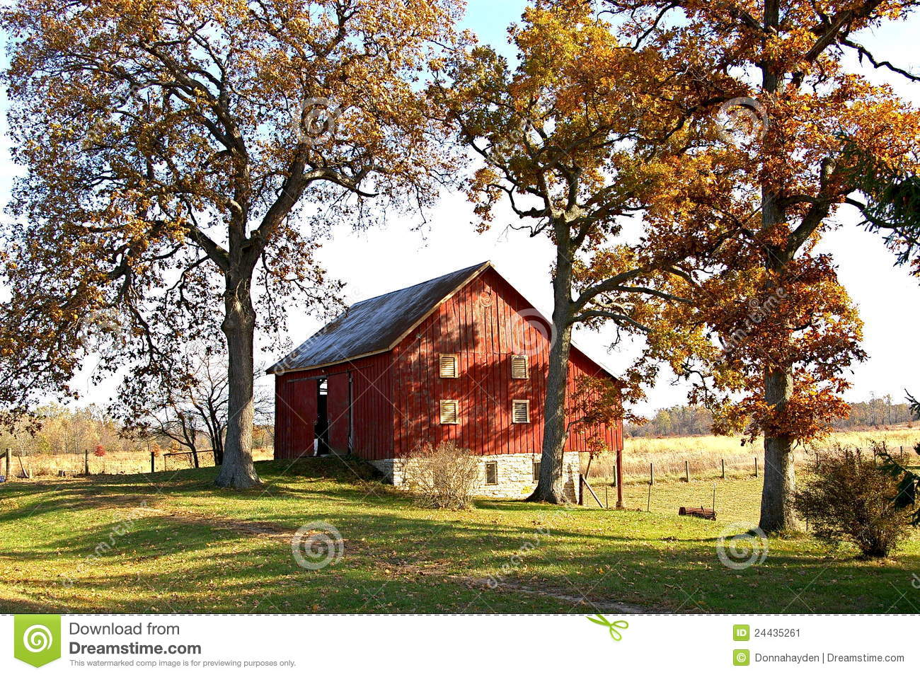 Red Barn And Tall Fall Trees Stock Image - Image: 24435261
