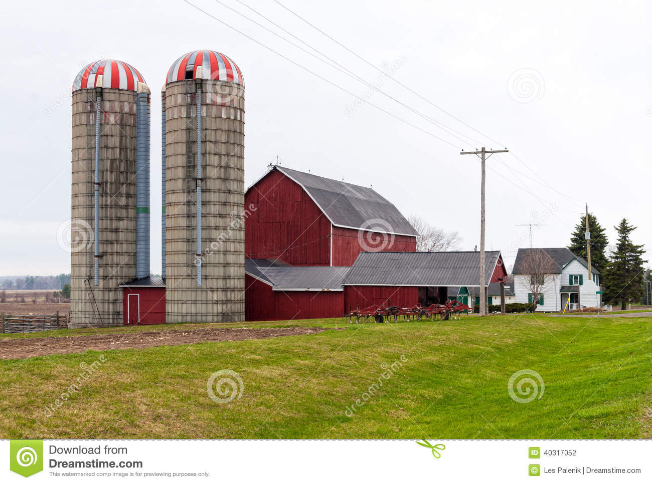 red barn and two silos stock photo image 40317052