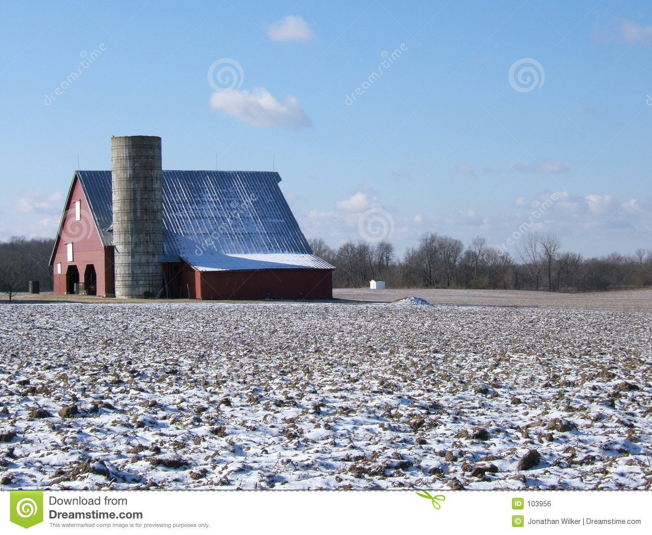 Download Red barn in winter stock photo. Image of antique, farm - 103956