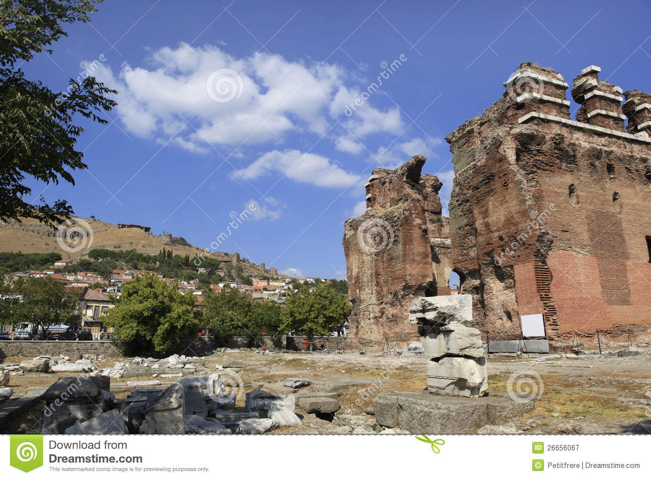 Red Basilica In The Ancient Greek City Of Pergamon Royalty ...