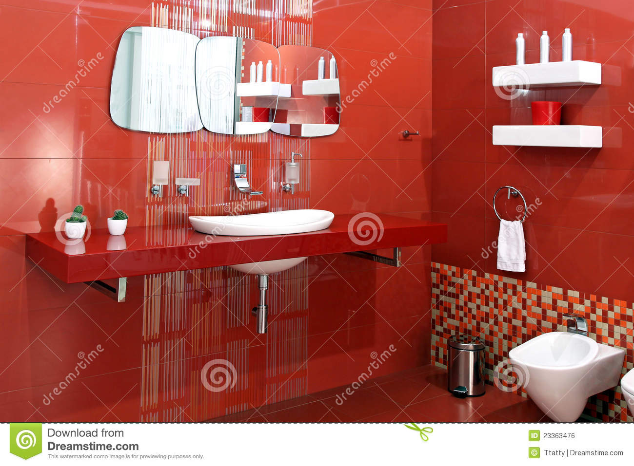 Red Bathroom Stock Photo Image Of Fixture Sink Wall 23363476
