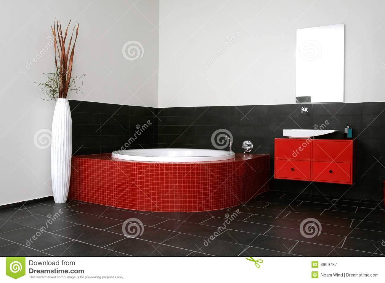 Bathroom Red bathroom with red walls stock photos - image: 21076703