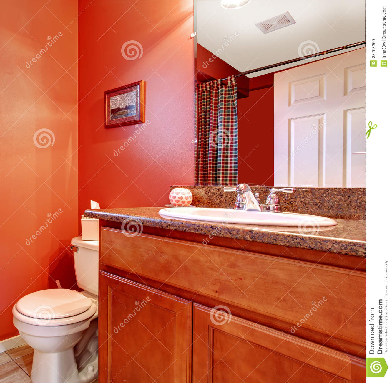 Red Bathroom Corner With A Washbasin Cabinet Stock Photo - Image: 38708360