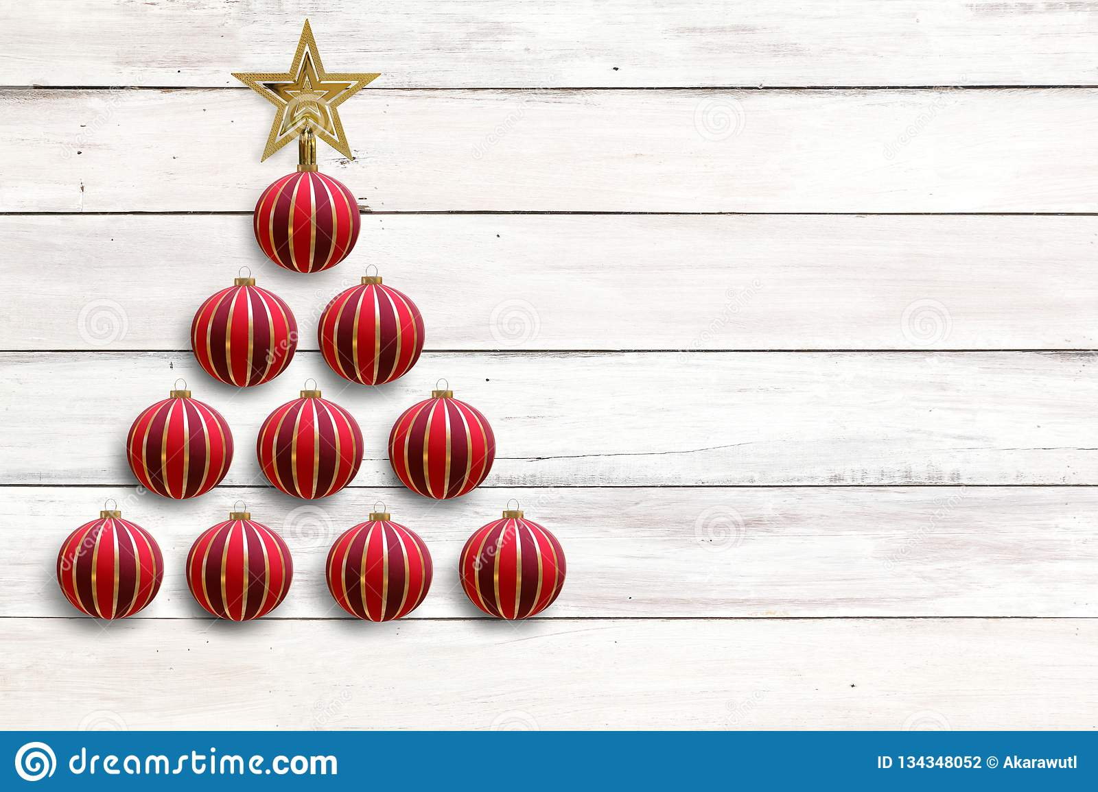 Red Bauble Ball Decorated As Christmas Tree With Golden